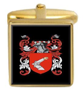 【送料無料】メンズアクセサリ― ホークイングランドカフスボタンボックスコートhawke england family crest surname coat of arms gold cufflinks engraved box