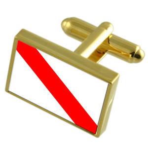 【送料無料】メンズアクセサリ― ストラスブールフランスゴールドフラッグカフスボタンボックスstrasbourg city france gold flag cufflinks engraved box