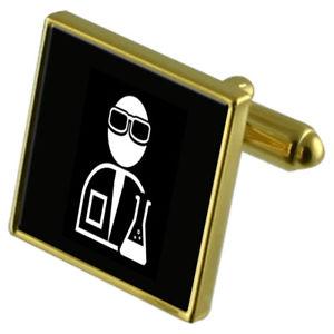 【送料無料】メンズアクセサリ― カフスボタンクリスタルタイクリップセットscientist chemist goldtone cufflinks crystal tie clip gift set