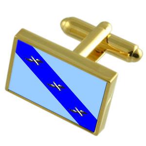 Kursk City Russia Flag Cufflinks Engraved Tie Clip Set