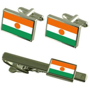 【送料無料】メンズアクセサリ― ニジェールカフスボタンタイクリップマッチングボックスセットniger flag cufflinks tie clip matching box gift set