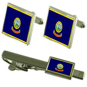 【送料無料】メンズアクセサリ― アイダホカフスボタンタイクリップマッチングボックスセットidaho flag cufflinks tie clip matching box gift set