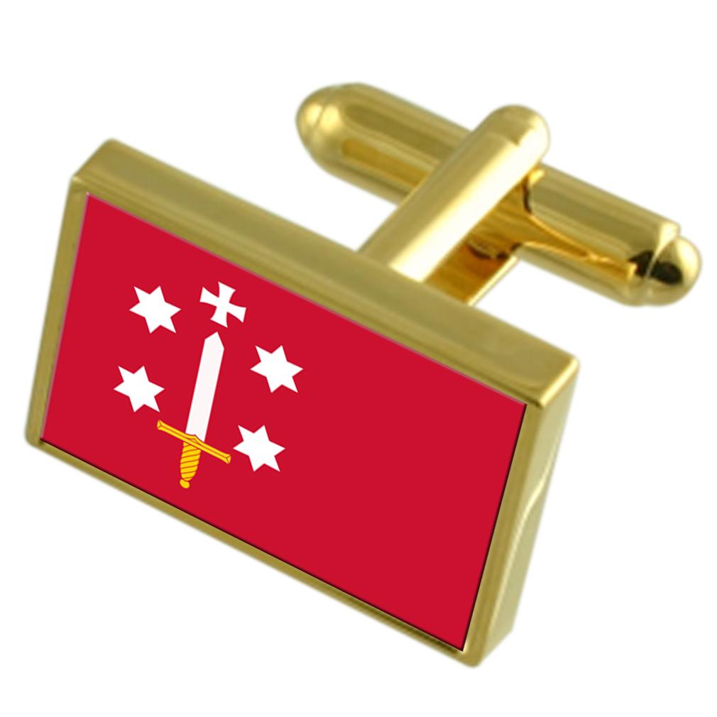 【送料無料】メンズアクセサリ― ハールレムオランダゴールドフラッグカフスボタンボックスhaarlem city netherlands gold flag cufflinks engraved box