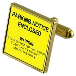 【送料無料】メンズアクセサリ― カフスリンクネクタイピンセットparking penalty notice goldtone cufflinks crystal tie clip gift set