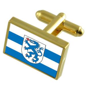 【送料無料】メンズアクセサリ― インゴルシュタットドイツゴールドフラッグカフスボタンボックスingolstadt city germany gold flag cufflinks engraved box