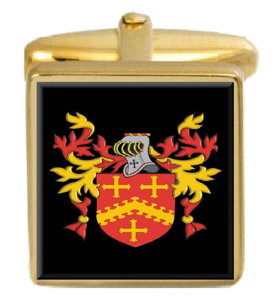 【送料無料】メンズアクセサリ― ケニオンイギリスカフスボタンボックスコートkenyon england family crest surname coat of arms gold cufflinks engraved box