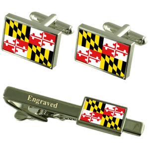 【送料無料】メンズアクセサリ― メリーランドフラグカフスリンクボックスセットネクタイピンmaryland flag cufflinks engraved tie clip matching box set