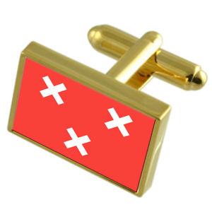 【送料無料】メンズアクセサリ― オランダゴールドフラッグカフスボタンボックスbreda city netherlands gold flag cufflinks engraved box