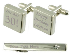 【送料無料】メンズアクセサリ― ビッグカフスボタンタイクリップボックスbig 30 birthday engraved cufflinks tie clip box set