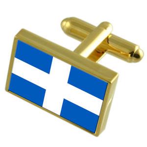 【送料無料】メンズアクセサリ― ズボーレシティオランダゴールドフラッグカフスボタンボックスzwolle city netherlands gold flag cufflinks engraved box