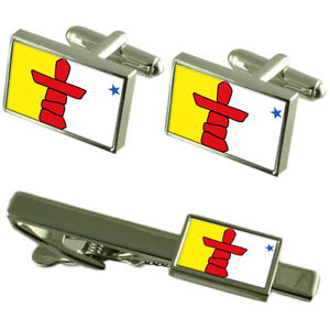 【送料無料】メンズアクセサリ― ヌナブトカフスボタンタイクリップマッチングボックスセットnunavut flag cufflinks tie clip matching box gift set