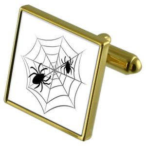 【送料無料】メンズアクセサリ― クモカフスボタンクリスタルタイクリップセットspider web goldtone cufflinks crystal tie clip gift set