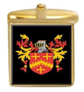【送料無料】メンズアクセサリ― イギリスカフスボタンボックスコートslyman england family crest surname coat of arms gold cufflinks engraved box