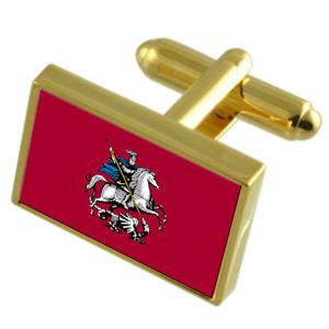 【送料無料】メンズアクセサリ― モスクワロシアカフスボタンボックスmoscow city russia gold flag cufflinks engraved box