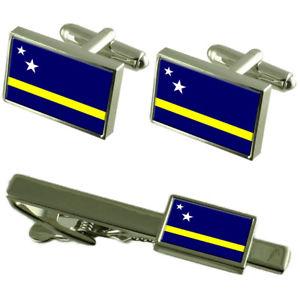 【送料無料】メンズアクセサリ― フラグカフスボタンタイクリップマッチングボックスセットcuraao flag cufflinks tie clip matching box gift set