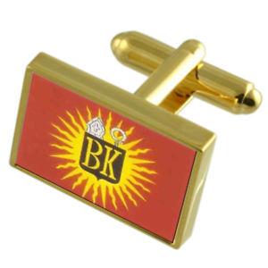 【送料無料】メンズアクセサリ― モンスベルギーゴールドフラッグカフスボタンボックスmons city belgium gold flag cufflinks engraved box
