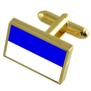 【送料無料】メンズアクセサリ― ランスフランスゴールドフラッグカフスボタンボックスreims city france gold flag cufflinks engraved box