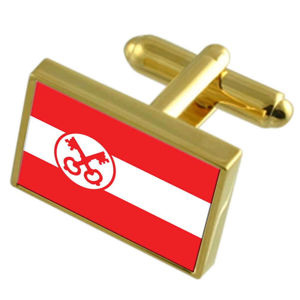 【送料無料】メンズアクセサリ― ライデンオランダゴールドフラッグカフスボタンボックスleiden city netherlands gold flag cufflinks engraved box