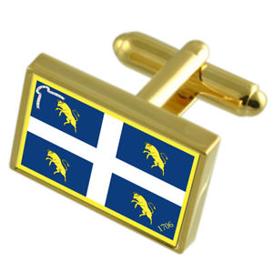 Lombardy Region Italy Gold-tone Flag Cufflinks Engraved Box