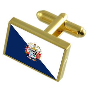 【送料無料】メンズアクセサリ― オソルノチリゴールドフラッグカフスボタンボックスosorno city chile gold flag cufflinks engraved box