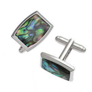 【送料無料】メンズアクセサリ― アワビパウアシェルシルバーカフリンクスblue green abalone paua shell rectangle silver cufflinks