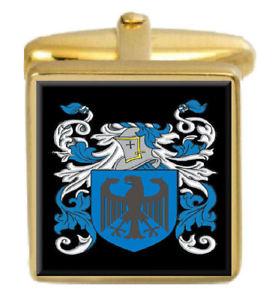 【送料無料】メンズアクセサリ― イギリスカフスボタンボックスコートbeechey england family crest surname coat of arms gold cufflinks engraved box