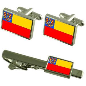 【送料無料】メンズアクセサリ― ズノイモチェコフラグカフスリンクネクタイピンセットznojmo city czech republic flag cufflinks tie clip box gift set