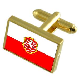 【送料無料】メンズアクセサリ― カルロヴィヴァリチェコゴールドフラッグカフスボタンボックスkarlovy vary city czech republic gold flag cufflinks engraved box