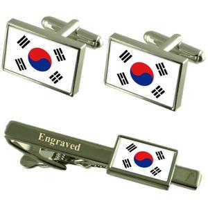 【送料無料】メンズアクセサリ― フラグカフスリンクボックスセットネクタイピンsouth korea flag cufflinks engraved tie clip matching box set