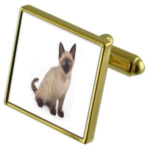 【送料無料】メンズアクセサリ― シャムカフスボタンクリスタルタイクリップセットsiamese kitten cat goldtone cufflinks crystal tie clip gift set