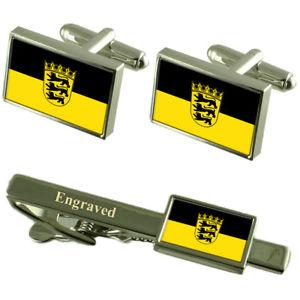 【送料無料】メンズアクセサリ― バーデンフラグカフスボタンタイクリップマッチングボックスbadenwrttemberg state flag cufflinks engraved tie clip matching box set