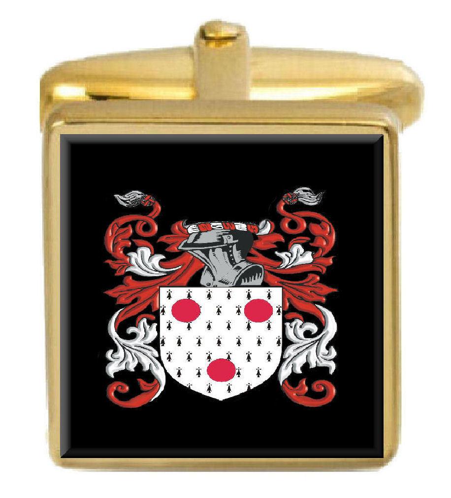 【送料無料】メンズアクセサリ― アイルランドカフスボタンボックスコートgargan ireland family crest surname coat of arms gold cufflinks engraved box