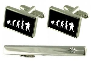【送料無料】メンズアクセサリ― マンサンタカフスリンクセットネクタイピンgift set tie clip evolution ape to man santa cufflinks