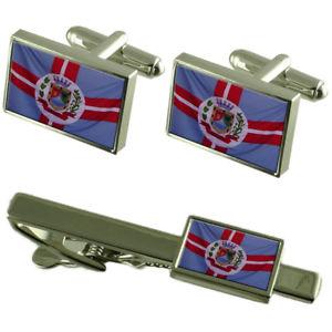 【送料無料】メンズアクセサリ― galileiaミナスジェライスカフスリンクネクタイピンセットgalileia city minas gerais state flag cufflinks tie clip box gift set