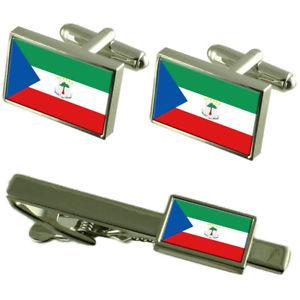 【送料無料】メンズアクセサリ― ギニアカフスボタンタイクリップマッチングボックスセットequatorial guinea flag cufflinks tie clip matching box gift set