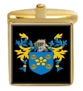【送料無料】メンズアクセサリ― イギリスカフスボタンボックスコートcheetham england family crest surname coat of arms gold cufflinks engraved box