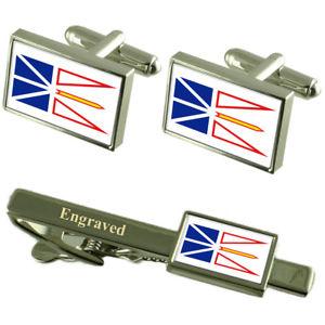 【送料無料】メンズアクセサリ― ニューファウンドランドラブラドールフラグカフスボタンタイクリップマッチングボックスfoundland amp; labrador flag cufflinks engraved tie clip matching box set