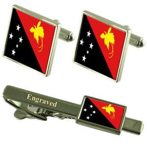【送料無料】メンズアクセサリ― パプアニューギニアフラグカフスリンクボックスセットネクタイピンpapua guinea flag cufflinks engraved tie clip matching box set
