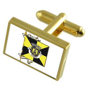 【送料無料】メンズアクセサリ― ポルトガルゴールドフラッグカフスボタンボックスloures city portugal gold flag cufflinks engraved box