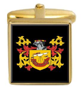 【送料無料】メンズアクセサリ― アイルランドカフスボタンボックスアッシャーコートusher ireland family crest surname coat of arms gold cufflinks engraved box