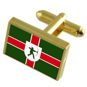 【送料無料】メンズアクセサリ― ノッティンガムシャーイングランドゴールドフラッグカフスボタンボックスnottinghamshire county england gold flag cufflinks engraved box