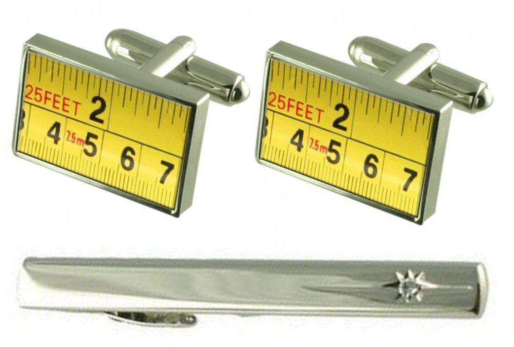【送料無料】メンズアクセサリ― タイクリップビルダーセットテープカフリンクスgift set tie clip builder tape measure cufflinks