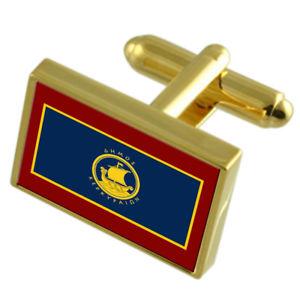 【送料無料】メンズアクセサリ― コルフギリシャゴールドフラッグカフスボタンボックスcorfu city greece gold flag cufflinks engraved box