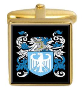 【送料無料】メンズアクセサリ― イギリスカフスボタンボックスコートelsmore england family crest surname coat of arms gold cufflinks engraved box