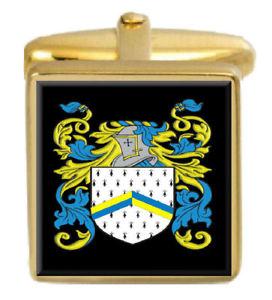 【送料無料】メンズアクセサリ― イギリスカフスボタンボックスコートbleset england family crest surname coat of arms gold cufflinks engraved box