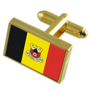 【送料無料】メンズアクセサリ― コロニアトバールベネズエラゴールドフラッグカフスボタンボックスcolonia tovar city venezuela gold flag cufflinks engraved box