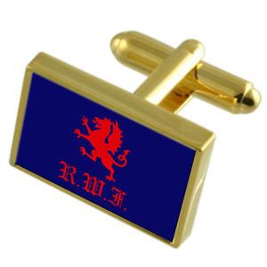 【送料無料】メンズアクセサリ― ウェールズイングランドゴールドフラッグカフスボタンボックスwelsh fusiliers military england gold flag cufflinks engraved box