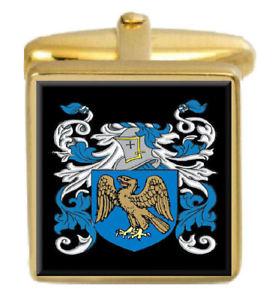 【送料無料】メンズアクセサリ― イギリスカフスボタンボックスコートfeimster england family crest surname coat of arms gold cufflinks engraved box