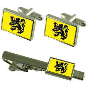【送料無料】メンズアクセサリ― フランドルカフスボタンタイクリップマッチングボックスセットflemish region flag cufflinks tie clip matching box gift set