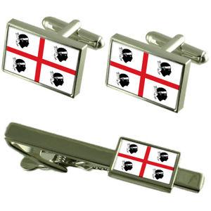 【送料無料】メンズアクセサリ― サルデーニャイタリアカフスボタンタイクリップボックスセットsardinia region italy flag cufflinks tie clip box gift set